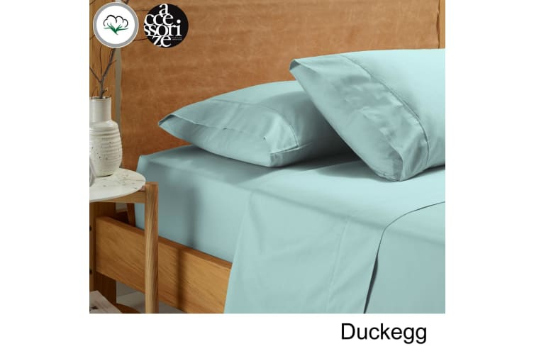 Vintage Washed Cotton Sheet Set Duckegg Queen