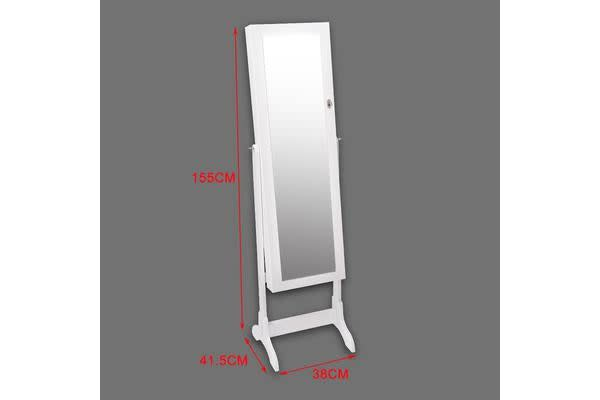 Mirror Jewellery Standing Cabinet WHITE