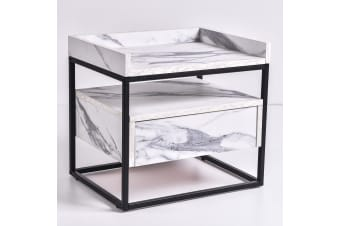 Magino Bedside Table - Bianco Marble