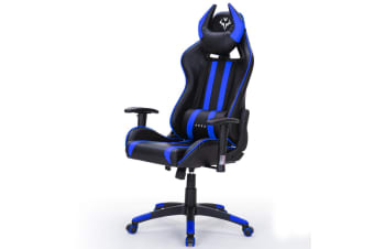 OVERDRIVE Reclining Gaming Chair Computer Black Seat Neck Lumbar Office Horns