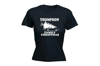 123T Funny Tee - Thompson Family Christmas - (Large Black Womens T Shirt)