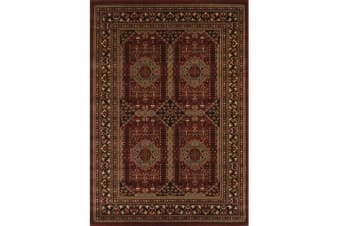 Traditional Afghan Design Rug Burgundy Red 170x120cm