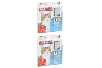2x Cat Mate 2-Way Locking Flap Lockable Door Home Access/Barrier for Pet Cat WHT