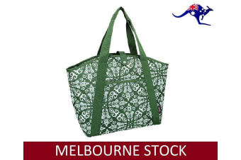 SACHI INSULATED COOLER BAG Tote Storage Carry Foldable Leak Proof BOHEMIAN GREEN