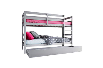 Cato 2-in-1 Timber Bunk Bed with Large Drawer - Grey