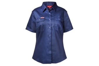 Hard Yakka Women's Cotton Drill Short Sleeve Shirt (Navy, Size 14)
