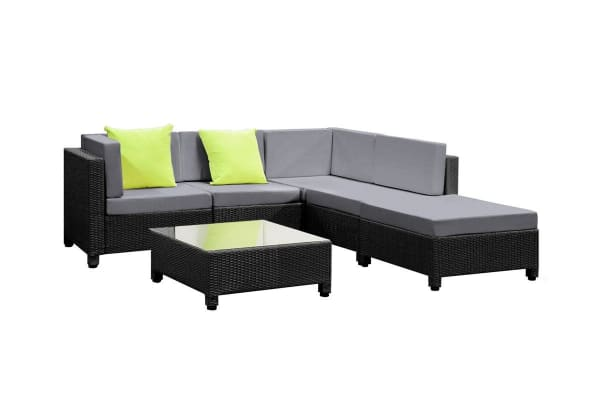 Monaco 6 Piece Wicker Outdoor Lounge Set Black Grey Kogan Com