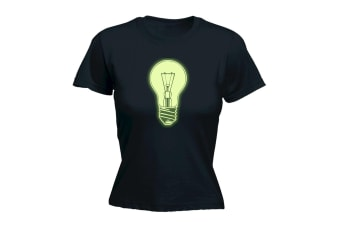 123T Funny Tee - Light Bulb Glow In The Dark - (Large Black Womens T Shirt)