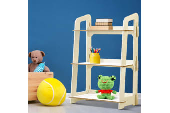Artiss Kids Bookshelf 3 Tier Children Storage Shelves Ladder Shelf Toy Display