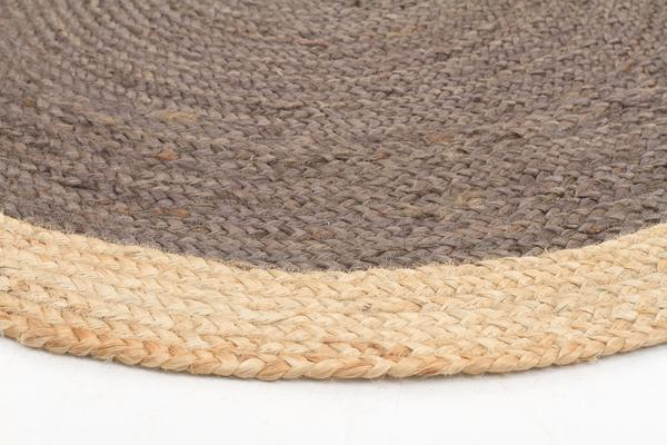 Round Jute Natural Rug Charcoal 120x120cm