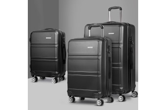 3pc Luggage Sets Suitcase Set TSA Hard Case Lightweight Black