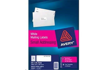 AVERY L7158-100 64 X 26.7MM 100 SHEETS