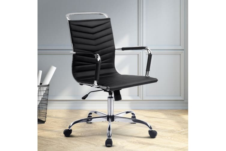 Artiss Eames Replica PU Leather Office Chair Work Computer Chairs Seating Black