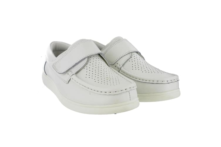 Dek Mens Touch Fastening Leather Bowling Shoes (White) (12 UK)