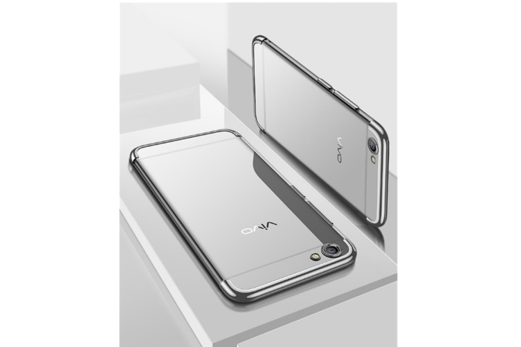 Three Section Of Electroplating Tpu Slim Transparent Phone Shell For Vivo Silver Vivo F7