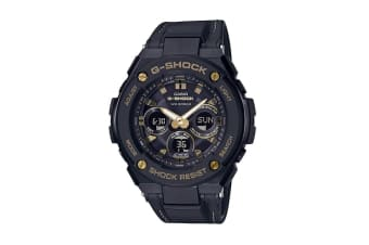 Casio G-Shock Analog Digital Watch with Shock/Water Resistance, Solar Power & Leather Band - Black/Gold (GSTS300GL-1A)