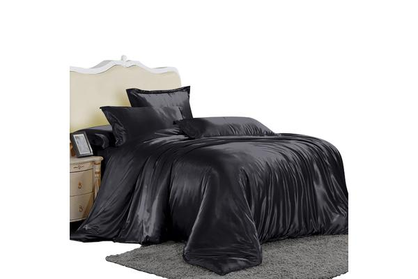 Dreamz Satin Duvet Cover Pillowcases Set BLACK - Double