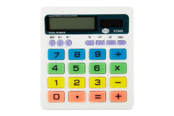 Marbig 8 Digit Coloured Desk Calculator With Large Display/Solar/Battery Powered