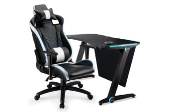 OVERDRIVE Gaming Chair Desk Racing Seat Setup Black Combo PC Office Lighting LED