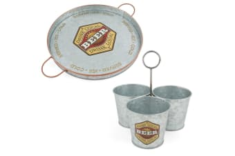 2PK ThirstyStone Galvanize Iron Beer 32.5cm Serving Tray and Snack Buckets Combo