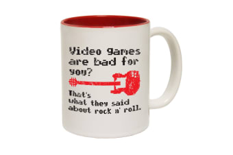 123T Funny Mugs - Video Games Rock N Roll - Red Coffee Cup