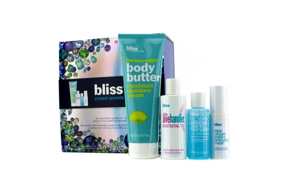 Bliss Crown Jewels Set: Body Butter 200ml + Love Handler 118ml + Triple Oxygen Instant Energizing Mask 15ml + Face Wash 60ml (4pcs)