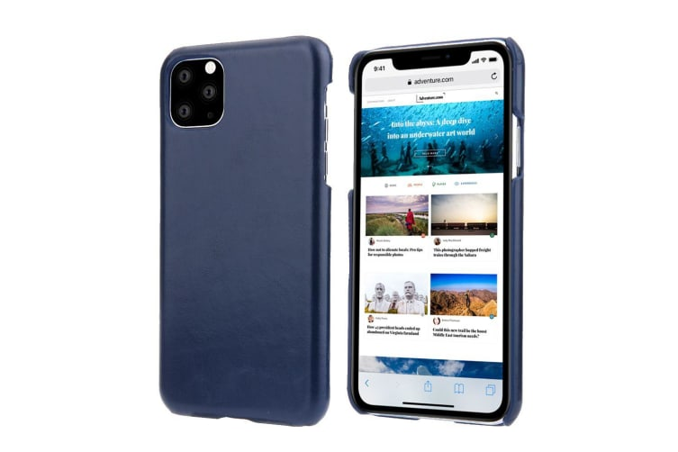 For iPhone 11 Case Elegant Genuine Leather Back Shell Protective Cover Blue