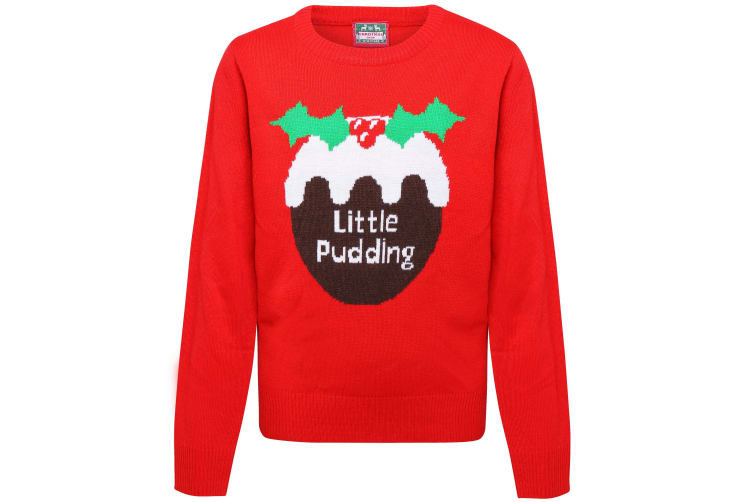 Christmas Shop Childrens/Kids Little Pudding Jumper (Pack of 2) (Red) (5-6 Years)