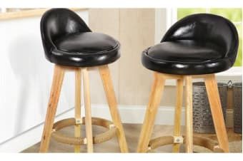 2 x Wooden Bar Stools Swivel Padded Leather Seat Dining Chairs Kitchen BLACK