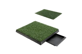 Pet Potty Training Pad Tray L 63 x 50cm - 1 Grass Mat