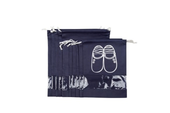 Select Mall Travel Shoe Receiving Bag with Cord Drawing and Perspective Shoe Cover - NAVY