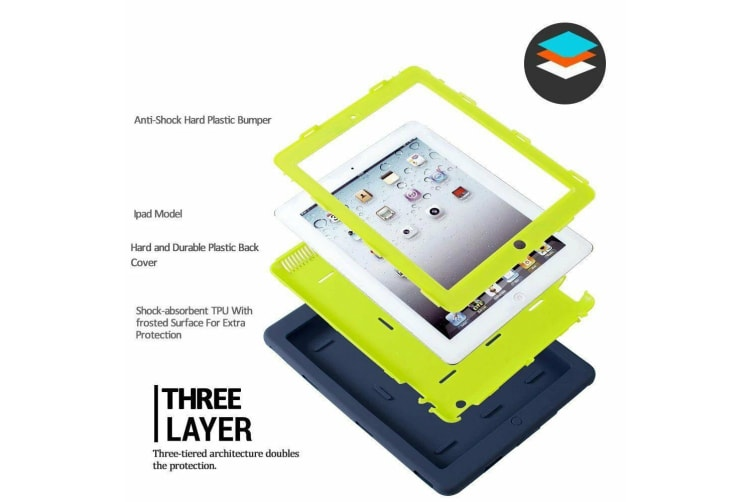 Heavy Duty Shockproof Case Cover For Pad Mini 1/2/3-Mint Green/Grey