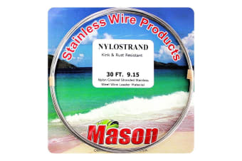30ft Coil of 60lb Bright Nylostrand Stainless Steel Fishing Wire Leader Material