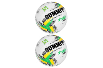 2PK Summit Size 5 Liz Ellis Classic Shooter Stitched Netball Sport Ball White