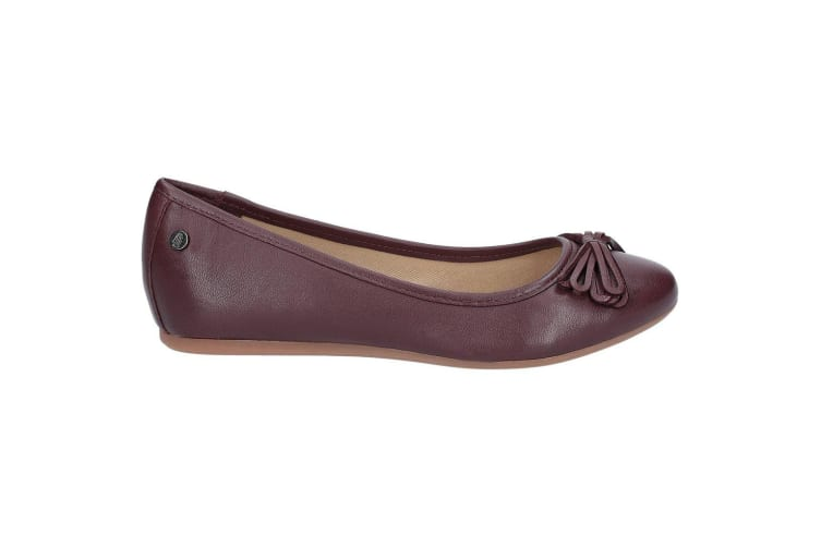 Hush Puppies Womens/Ladies Heather Bow Leather Ballet Shoes (Wine) (8 UK)