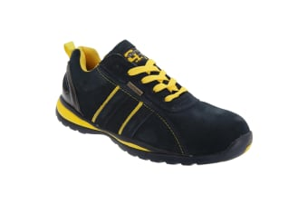 Grafters Mens Safety Toe Cap Trainer Shoes (Navy Blue/Yellow)