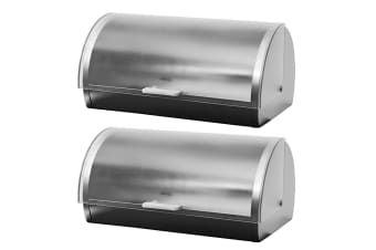 2PK Avanti 39cm Roll Top Frosted Lid Bread Pastries Bin Container Storage S S
