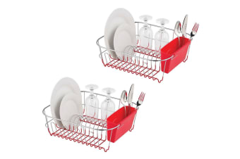 2pc Avanti Dish Rack Drying Holder Tray Kitchen for Cup Plates Cutlery Drainer