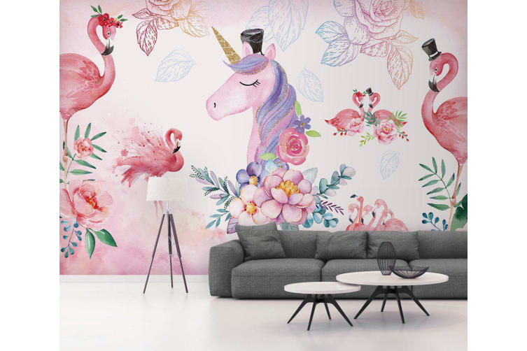 3D Flamingo Unicorn 591 Wall Murals Self-adhesive Vinyl, XL 208cm x 146cm (WxH)(82''x58'')