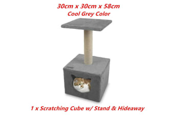 Grey Cat Scratching Tower Tree Hideaway House Post Sisal Pole Scratcher Stand