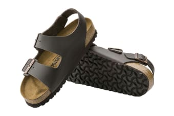 Birkenstock Unisex Milano Smooth Leather Sandal (Dark Brown, Size 42 EU)