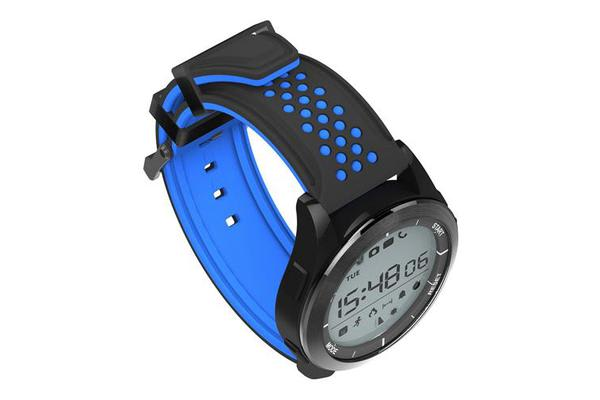 """Bluetooth V4.0 Smart Watch 1.1"""" LCD Calorie Count Pedometer IP68 Black Blue"""