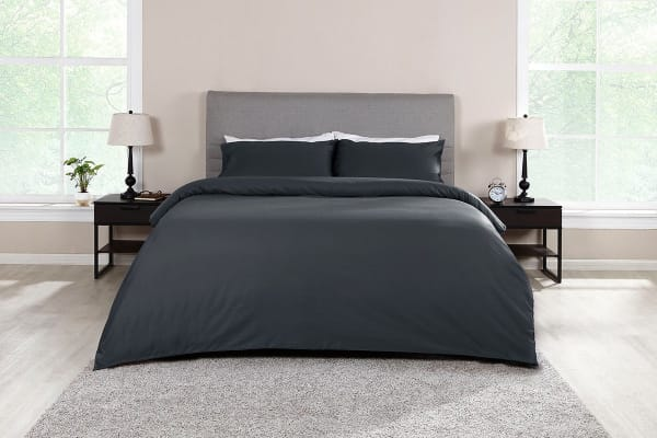 Ovela 1000TC 100% Egyptian Cotton Quilt Cover Set (Queen, Charcoal)