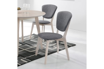 Set of 2 Dining Chair Solid Wood Fabric Cushion Seat - White Oak