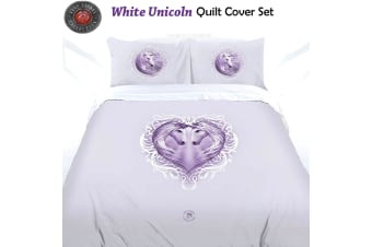 White Unicorn Quilt Cover Set by Anne Stokes