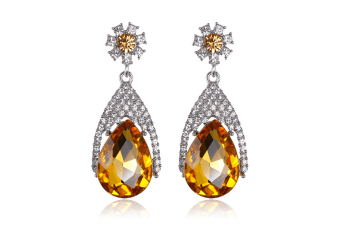 White Gold Plated Multi-color Crystal Teardrop Dangle  Fashion Earrings  Yellow