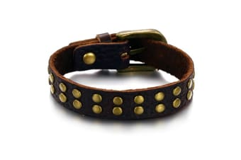 Genuine Leather Wrap Bracelet 7-Leather/Brown