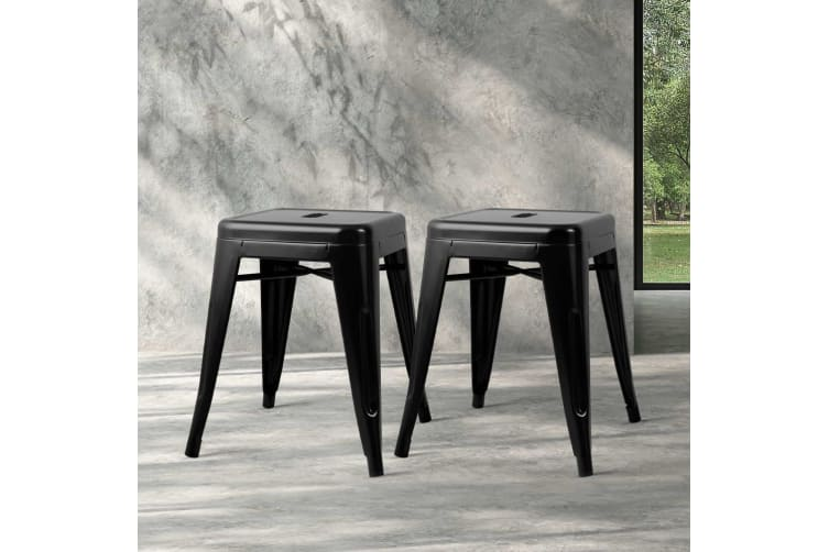 Artiss 4x Replica Tolix Bar Stools Metal Bar Stool Kitchen Cafe Chair 46cm Black