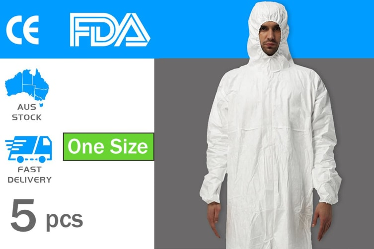 5pcs Protective Suit Hooded Coverall Disposable Staff Clothing - One Size