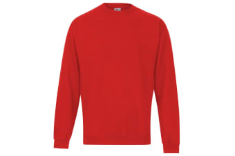RTXtra Mens Classic Plain Crew Neck Sweatshirt Top (Red)